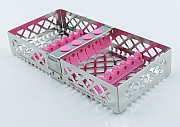 Steri-Wash-Tray 190x90x34mm 6 instr. - silicones pink